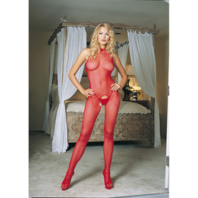 CATSUIT LA SEAMLESS FISHNET RED