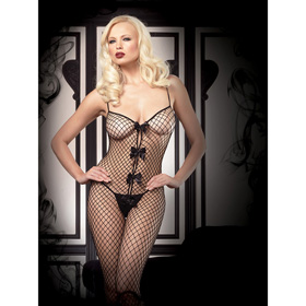 CATSUIT LA INDUSTRIAL NET SATIN BOWS